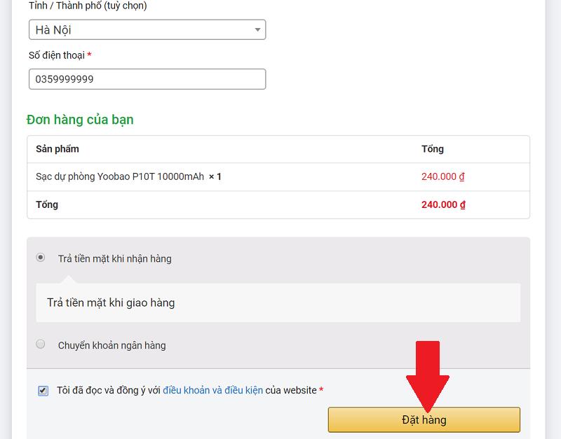 Hướng dẫn mua hàng tại Yoobao.com.vn