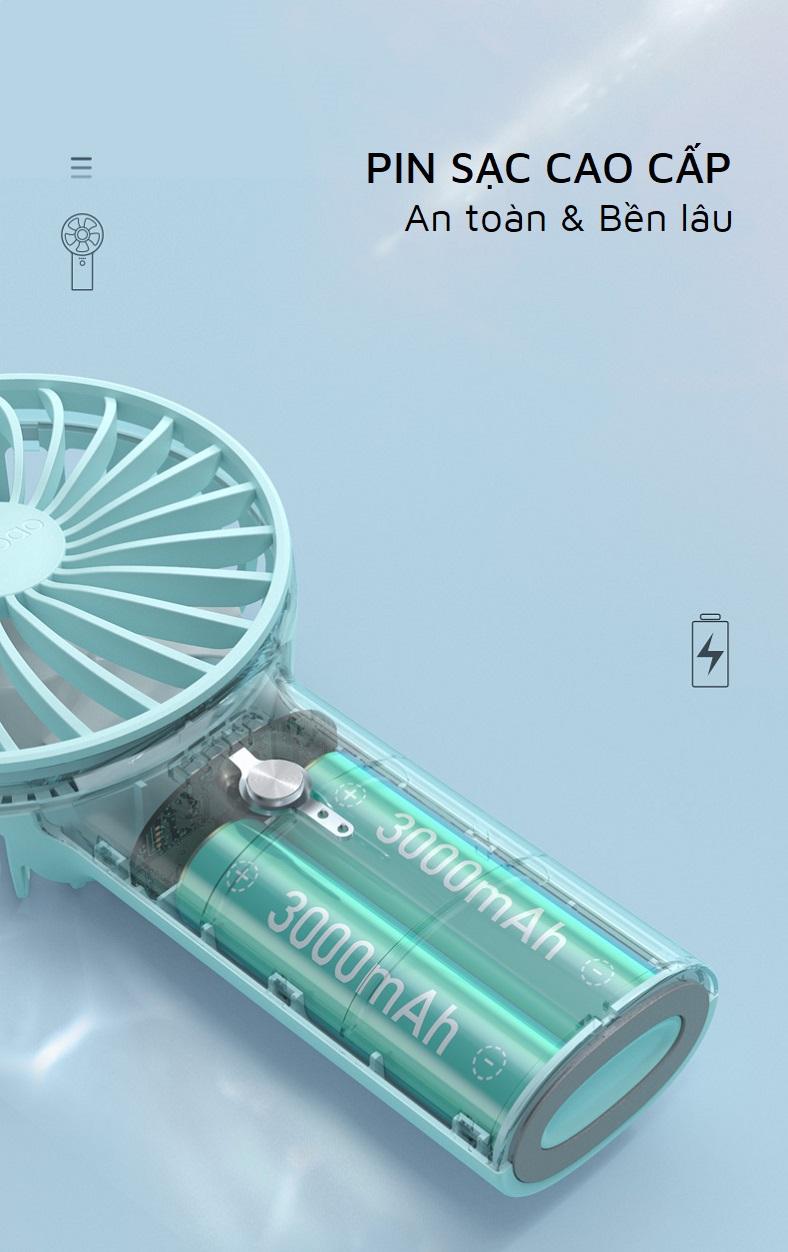 Quạt tích điện mini cầm tay Yoobao F3 6000mAh