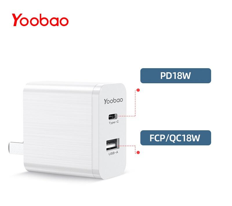 Adapter sạc 2 cổng Yoobao RY-U23 18W PD chính hãng