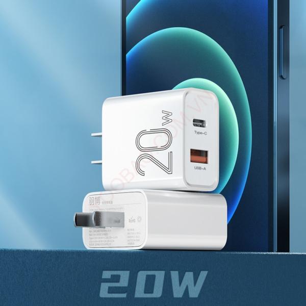 Adapter 2 cổng sạc nhanh PD 20W Yoobao RY-U20
